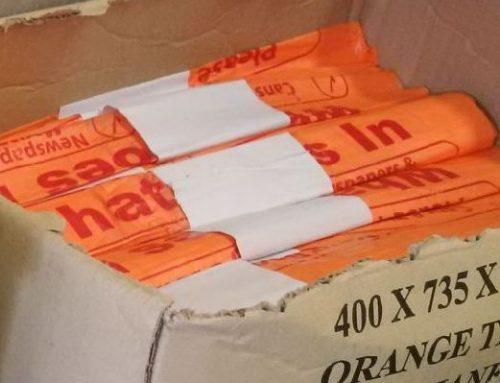 Orange recycling sacks